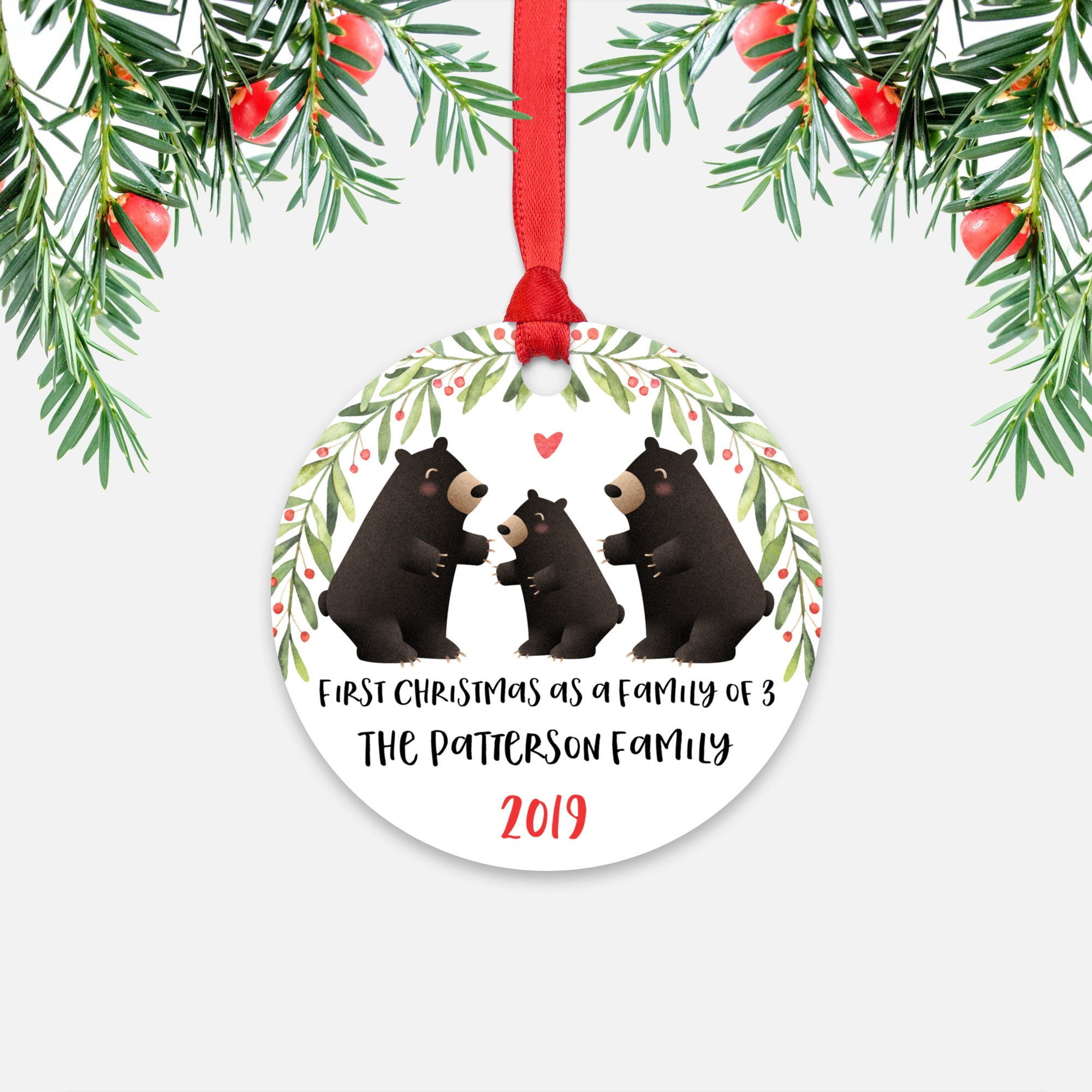 Black Bear First Christmas as a Family of 3 Three with Baby Boy Girl Personalized Ornament - Cute Animal Baby 1st Holidays Decoration - Custom Christmas Gift Idea for New Parents Mom Dad - Round Aluminum - by Happy Cat Prints