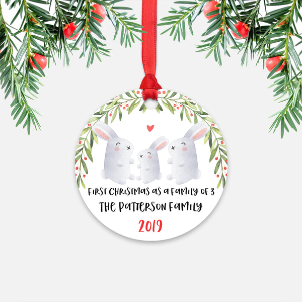 Bunny Rabbit First Christmas as a Family of 3 Three with Baby Boy Girl Personalized Ornament - Cute Animal Baby 1st Holidays Decoration - Custom Christmas Gift Idea for New Parents Mom Dad - Round Aluminum - by Happy Cat Prints