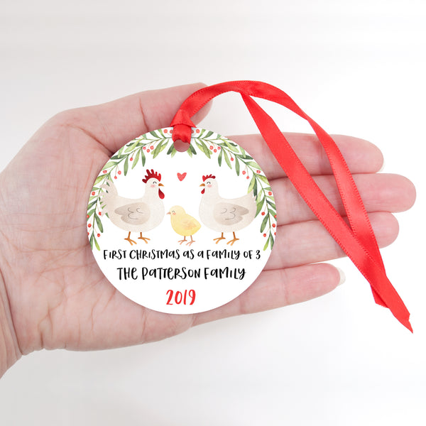 Chicken Rooster Hen Chick Personalized Ornament First Christmas as a Family of 3 Three with Baby Boy or Girl - Animal Baby's 1st Holidays Milestone Decoration Keepsake - Unique Christmas Gift Idea for New Mom New Dad - Round Aluminum - by Happy Cat Prints