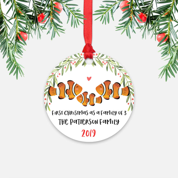 Clownfish Clown Fish First Christmas as a Family of 3 Three with Baby Boy Girl Personalized Ornament - Cute Animal Baby 1st Holidays Decoration - Custom Christmas Gift Idea for New Parents Mom Dad - Round Aluminum - by Happy Cat Prints