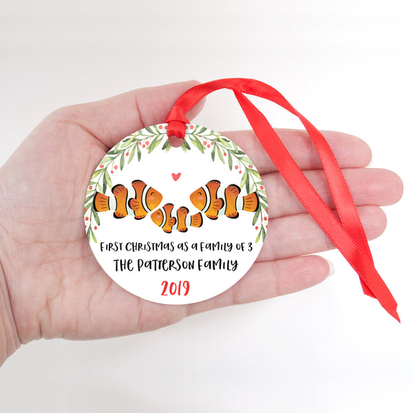 Clownfish Clown Fish Personalized Ornament First Christmas as a Family of 3 Three with Baby Boy or Girl - Animal Baby's 1st Holidays Milestone Decoration Keepsake - Unique Christmas Gift Idea for New Mom New Dad - Round Aluminum - by Happy Cat Prints