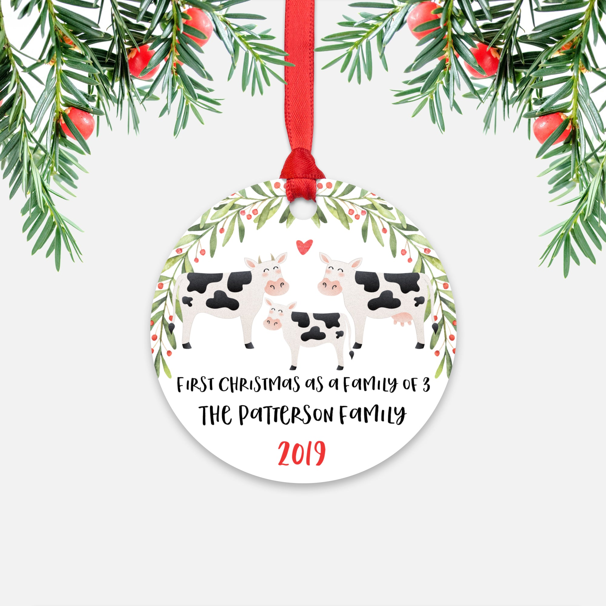 Cow First Christmas as a Family of 3 Three with Baby Boy Girl Personalized Ornament - Cute Animal Baby 1st Holidays Decoration - Custom Christmas Gift Idea for New Parents Mom Dad - Round Aluminum - by Happy Cat Prints
