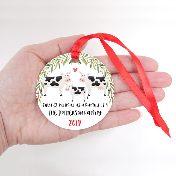 Cow Personalized Ornament First Christmas as a Family of 3 Three with Baby Boy or Girl - Animal Baby's 1st Holidays Milestone Decoration Keepsake - Unique Christmas Gift Idea for New Mom New Dad - Round Aluminum - by Happy Cat Prints