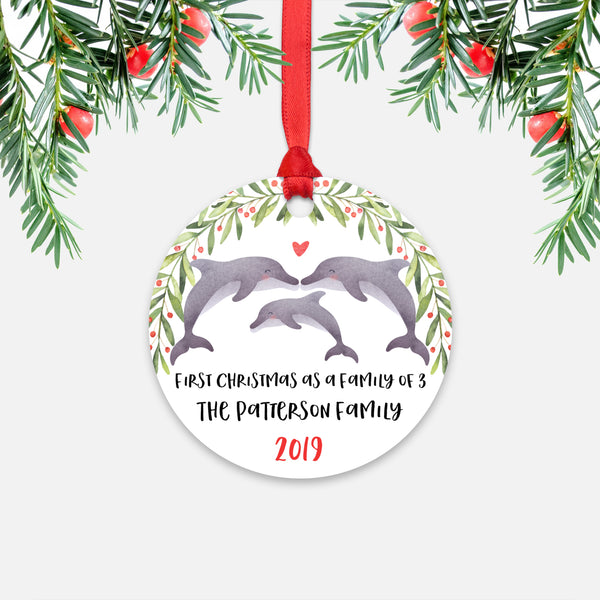 Dolphin First Christmas as a Family of 3 Three with Baby Boy Girl Personalized Ornament - Cute Animal Baby 1st Holidays Decoration - Custom Christmas Gift Idea for New Parents Mom Dad - Round Aluminum - by Happy Cat Prints