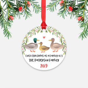 Mallard Duck First Christmas as a Family of 3 Three with Baby Boy Girl Personalized Ornament - Cute Animal Baby 1st Holidays Decoration - Custom Christmas Gift Idea for New Parents Mom Dad - Round Aluminum - by Happy Cat Prints