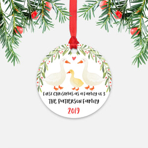 White Goose Geese First Christmas as a Family of 3 Three with Baby Boy Girl Personalized Ornament - Cute Animal Baby 1st Holidays Decoration - Custom Christmas Gift Idea for New Parents Mom Dad - Round Aluminum - by Happy Cat Prints