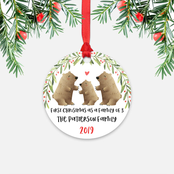 Grizzly Bear First Christmas as a Family of 3 Three with Baby Boy Girl Personalized Ornament - Cute Animal Baby 1st Holidays Decoration - Custom Christmas Gift Idea for New Parents Mom Dad - Round Aluminum - by Happy Cat Prints