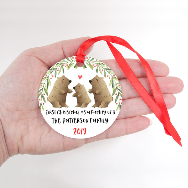 Grizzly Bear Personalized Ornament First Christmas as a Family of 3 Three with Baby Boy or Girl - Animal Baby's 1st Holidays Milestone Decoration Keepsake - Unique Christmas Gift Idea for New Mom New Dad - Round Aluminum - by Happy Cat Prints