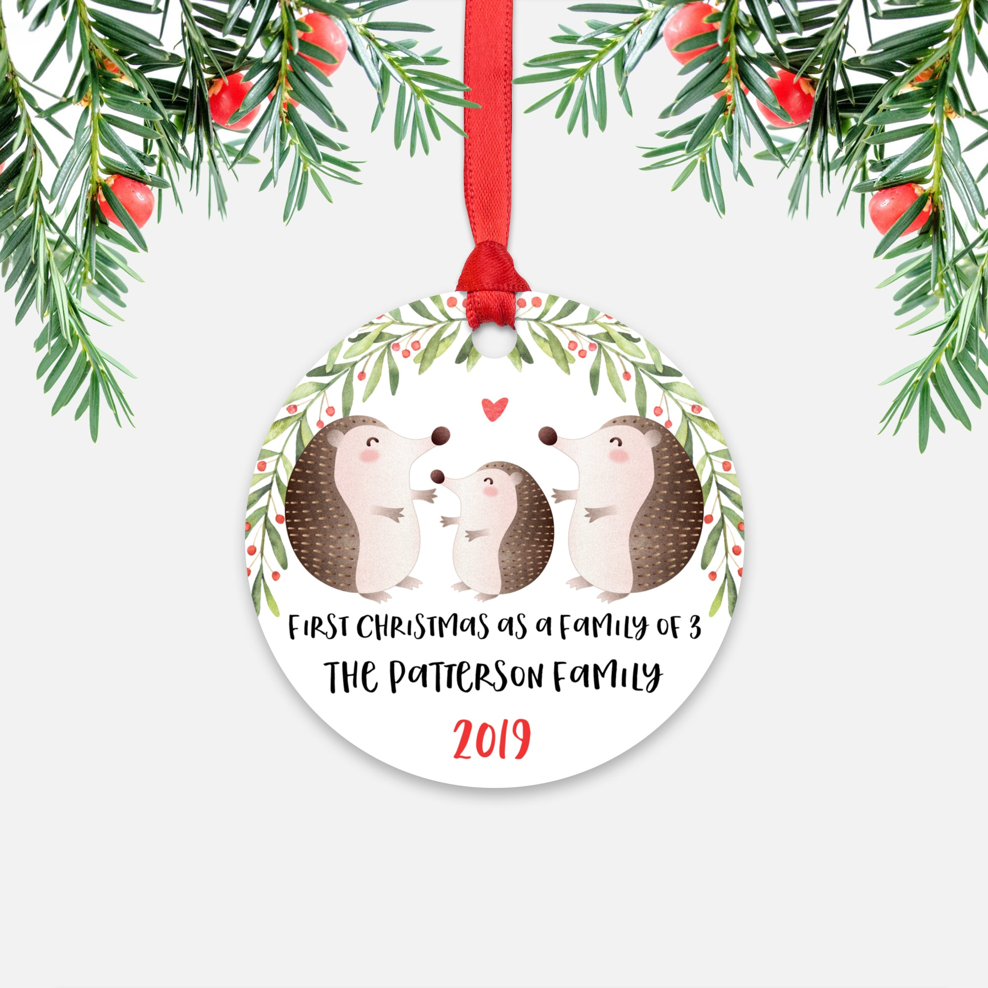 Hedgehog First Christmas as a Family of 3 Three with Baby Boy Girl Personalized Ornament - Cute Animal Baby 1st Holidays Decoration - Custom Christmas Gift Idea for New Parents Mom Dad - Round Aluminum - by Happy Cat Prints