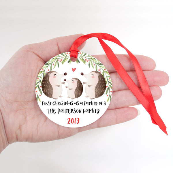 Hedgehog Personalized Ornament First Christmas as a Family of 3 Three with Baby Boy or Girl - Animal Baby's 1st Holidays Milestone Decoration Keepsake - Unique Christmas Gift Idea for New Mom New Dad - Round Aluminum - by Happy Cat Prints
