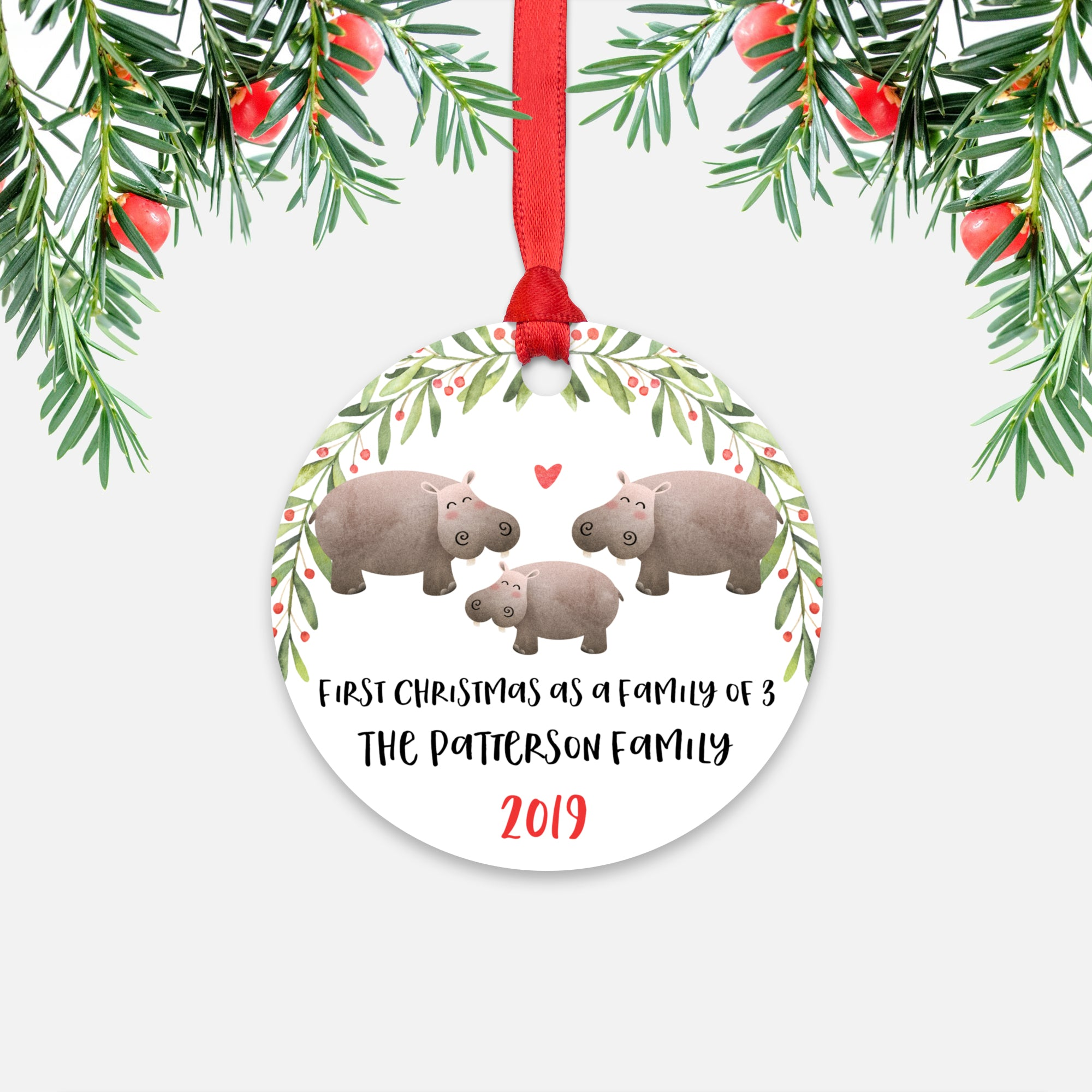 Hippo Hippopotamus First Christmas as a Family of 3 Three with Baby Boy Girl Personalized Ornament - Cute Animal Baby 1st Holidays Decoration - Custom Christmas Gift Idea for New Parents Mom Dad - Round Aluminum - by Happy Cat Prints