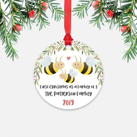 Honey Bee First Christmas as a Family of 3 Three with Baby Boy Girl Personalized Ornament - Cute Animal Baby 1st Holidays Decoration - Custom Christmas Gift Idea for New Parents Mom Dad - Round Aluminum - by Happy Cat Prints