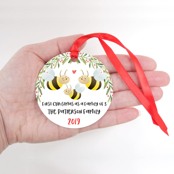 Honey Bee Personalized Ornament First Christmas as a Family of 3 Three with Baby Boy or Girl - Animal Baby's 1st Holidays Milestone Decoration Keepsake - Unique Christmas Gift Idea for New Mom New Dad - Round Aluminum - by Happy Cat Prints