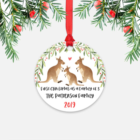 Kangaroo First Christmas as a Family of 3 Three with Baby Boy Girl Personalized Ornament - Cute Animal Baby 1st Holidays Decoration - Custom Christmas Gift Idea for New Parents Mom Dad - Round Aluminum - by Happy Cat Prints