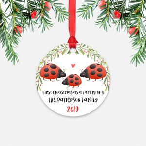 Ladybug First Christmas as a Family of 3 Three with Baby Boy Girl Personalized Ornament - Cute Animal Baby 1st Holidays Decoration - Custom Christmas Gift Idea for New Parents Mom Dad - Round Aluminum - by Happy Cat Prints