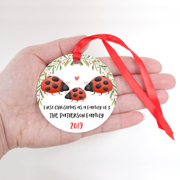 Ladybug Personalized Ornament First Christmas as a Family of 3 Three with Baby Boy or Girl - Animal Baby's 1st Holidays Milestone Decoration Keepsake - Unique Christmas Gift Idea for New Mom New Dad - Round Aluminum - by Happy Cat Prints