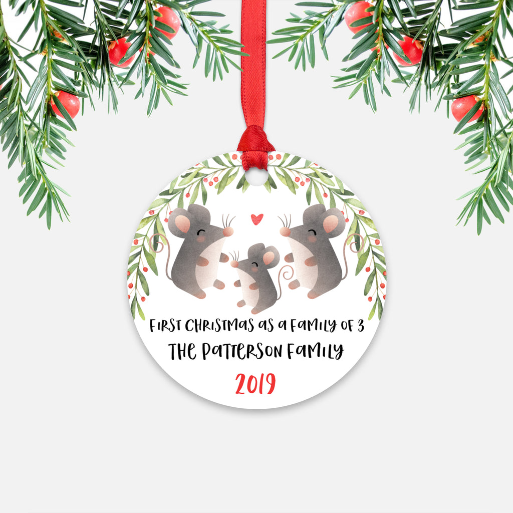 Mouse Family Of 3 First Christmas With Baby Personalized Ornament Happycatprints