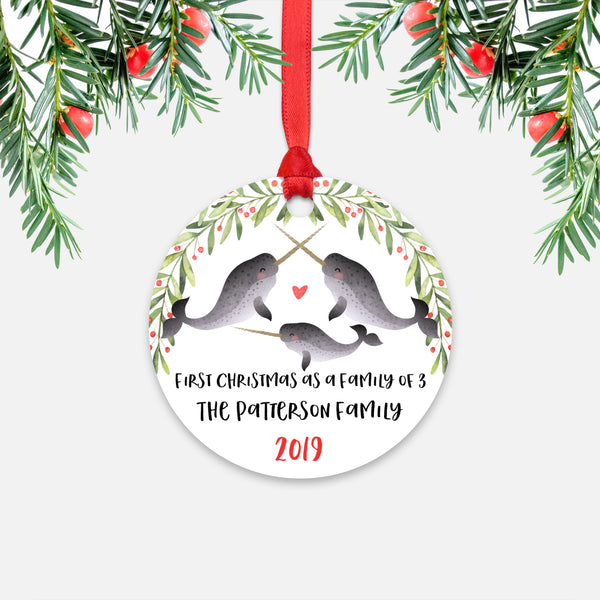 Narwhal First Christmas as a Family of 3 Three with Baby Boy Girl Personalized Ornament - Cute Animal Baby 1st Holidays Decoration - Custom Christmas Gift Idea for New Parents Mom Dad - Round Aluminum - by Happy Cat Prints