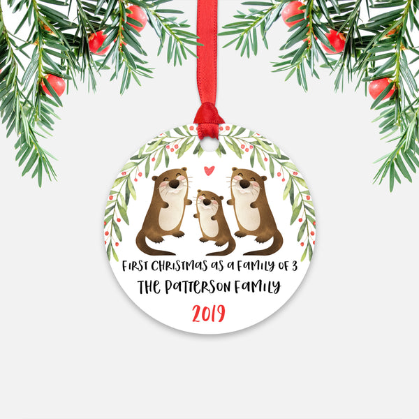 Otter First Christmas as a Family of 3 Three with Baby Boy Girl Personalized Ornament - Cute Animal Baby 1st Holidays Decoration - Custom Christmas Gift Idea for New Parents Mom Dad - Round Aluminum - by Happy Cat Prints