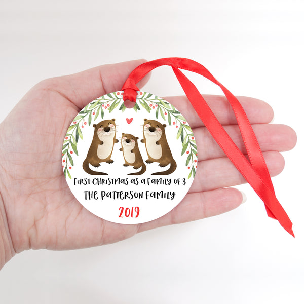 Otter Personalized Ornament First Christmas as a Family of 3 Three with Baby Boy or Girl - Animal Baby's 1st Holidays Milestone Decoration Keepsake - Unique Christmas Gift Idea for New Mom New Dad - Round Aluminum - by Happy Cat Prints