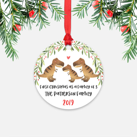 T-Rex Dinosaur Tyrannosaurus Rex First Christmas as a Family of 3 Three with Baby Boy Girl Personalized Ornament - Cute Animal Baby 1st Holidays Decoration - Custom Christmas Gift Idea for New Parents Mom Dad - Round Aluminum - by Happy Cat Prints