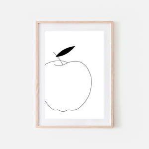 Apple No 1 Fruit Wall Art - Black and White Line Drawing - Print, Poster or Printable Download