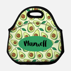 Avocado Pattern Tropical Fruit Green Vegan Personalized Name Lunch Tote Bag Neoprene Insulated - By Happy Cat Prints