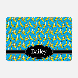 Banana Pattern PATTBANANA1 Blue Personalized Pet Mat for Cat Dog Feeding Mat for Food Bowls - By Happy Cat Prints