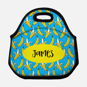 Banana Pattern PATTBANANA1 Blue Yellow Personalized Name Lunch Tote Bag Neoprene Insulated - By Happy Cat Prints