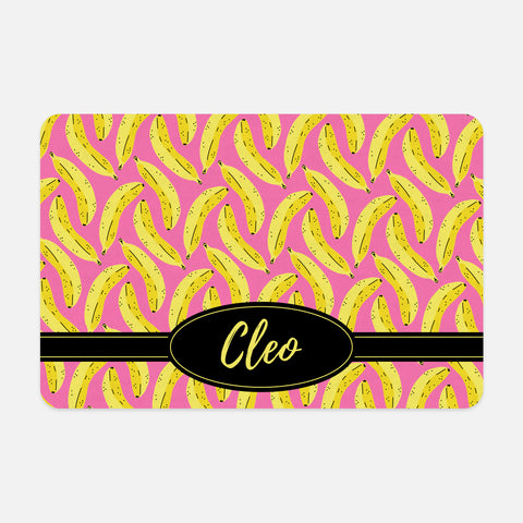 Banana Pattern Tropical Fruit Yellow Black Hot Pink Personalized Name Lunch Tote Bag Neoprene Insulated - By Happy Cat Prints