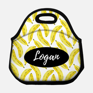 Banana Pattern Tropical Fruit Yellow Black White Personalized Name Lunch Tote Bag Neoprene Insulated - By Happy Cat Prints