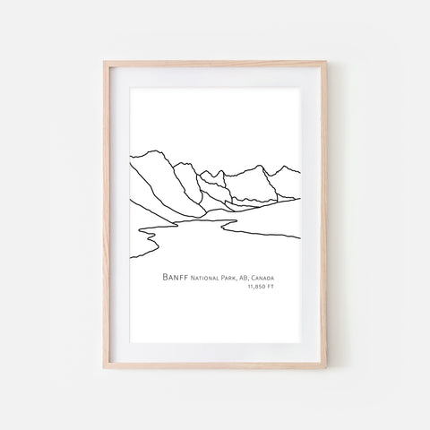 Banff National Park Alberta AB Canada Wall Art Print - Abstract Minimalist Landscape Contour One Line Drawing - Black and White Home Decor Mountain Outdoors Hiking Decor - Large Small Shipped Paper Print or Poster - OR - Downloadable Art Print DIY Digital Printable Instant Download - By Happy Cat Prints
