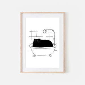 Black Cat in Bath Wall Art - Funny Bathroom Decor - Black & White Print, Poster or Printable Download