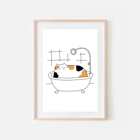 Calico Cat in Bath Wall Art - Funny Bathroom Decor - Line Drawing Illustration -Print, Poster or Printable Download