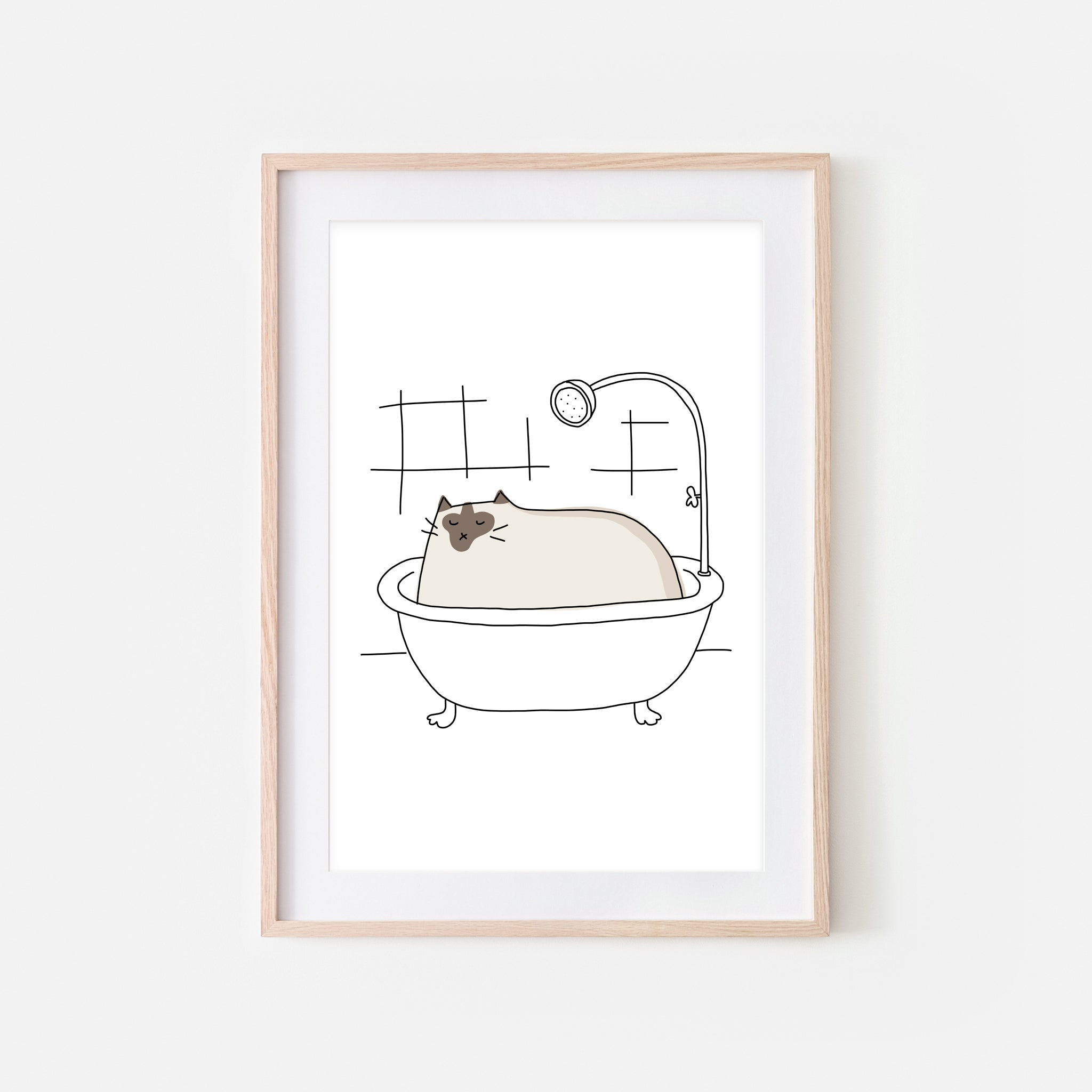 Siamese Cat in Bath Wall Art - Funny Bathroom Decor - Line Drawing Illustration - Print, Poster or Printable Download