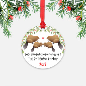 Beaver Animal First Christmas as a Family of 4 Personalized Ornament for New Baby Girl Boy - Round Aluminum - Red ribbon