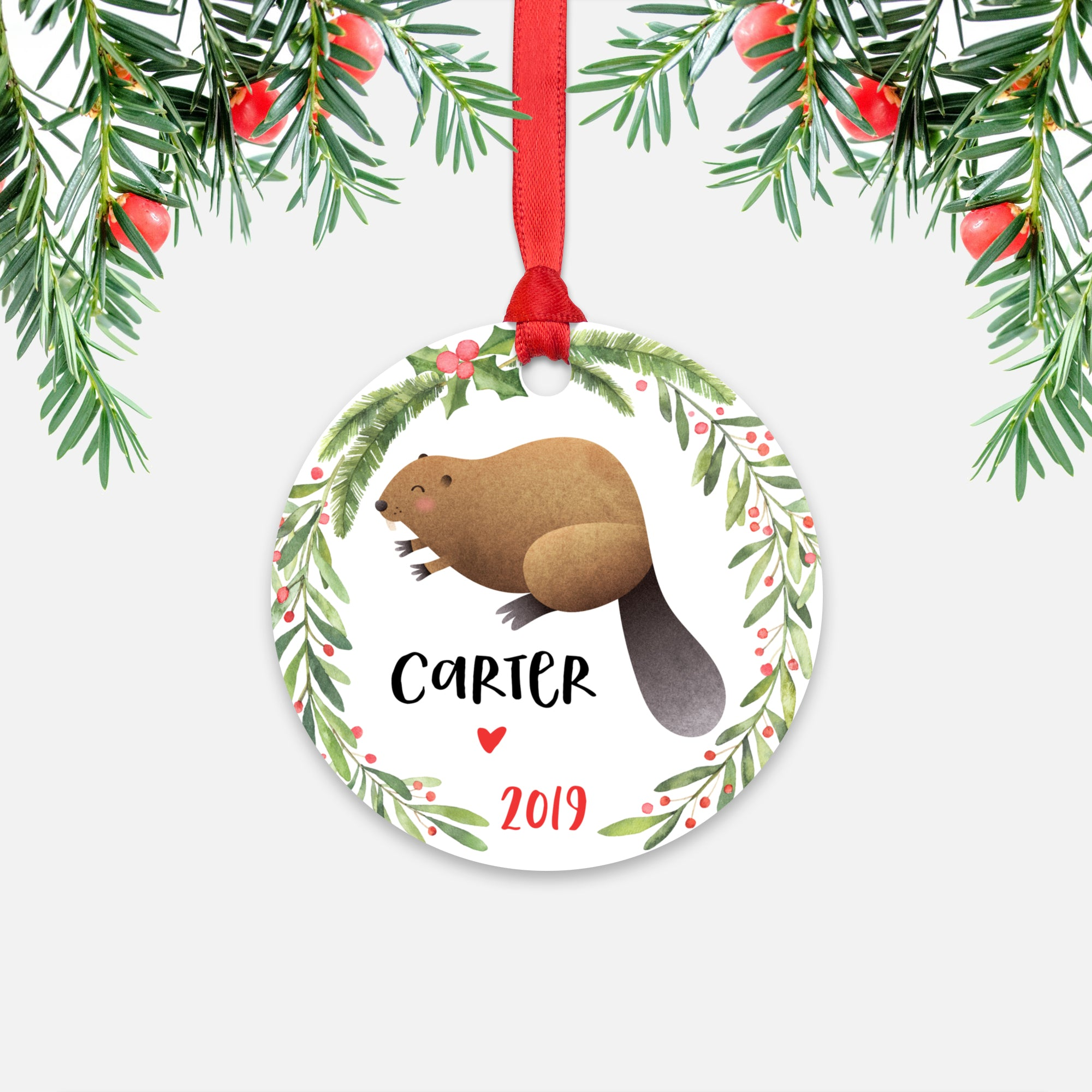 Beaver Woodland Animal Personalized Kids Name Christmas Ornament for Boy or Girl - Round Aluminum - Red ribbon