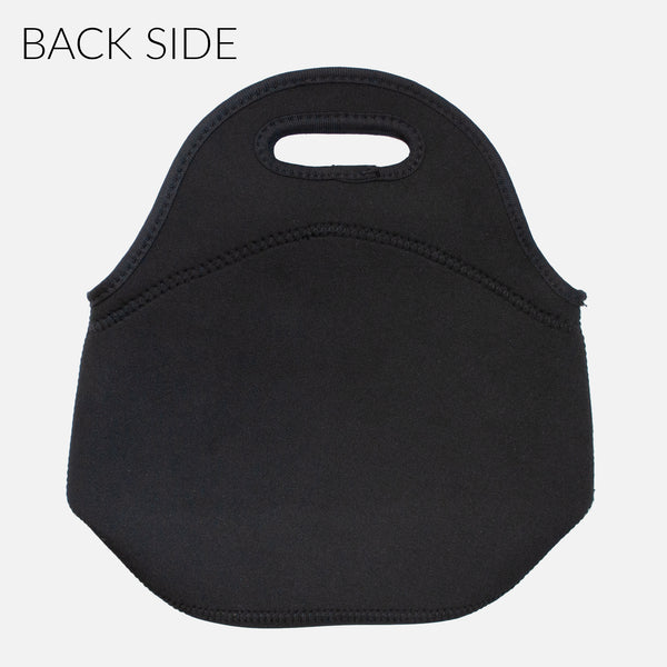 Solid Black Back Side - Personalized Name Lunch Tote Bag Neoprene Insulated - By Happy Cat Prints