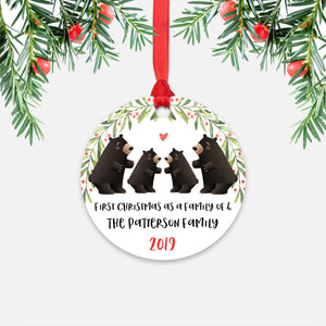 Black Bear Animal First Christmas as a Family of 4 Personalized Ornament for New Baby Girl Boy - Round Aluminum - Red ribbon