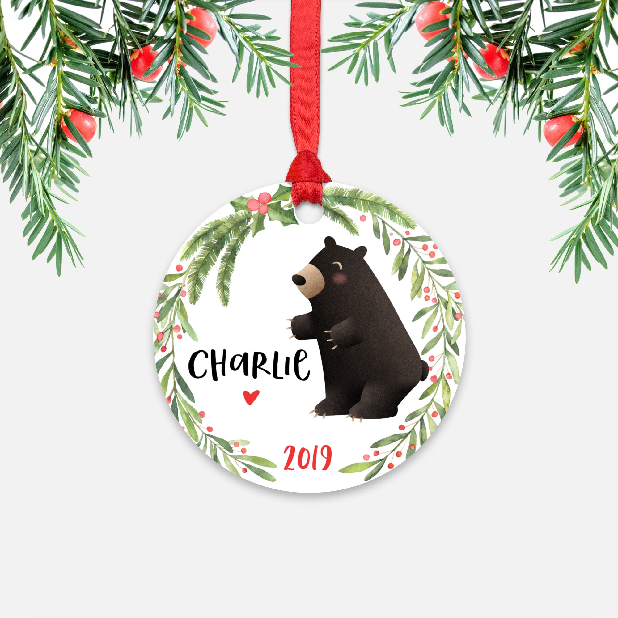 Black Bear Woodland Animal Personalized Kids Name Christmas Ornament for Boy or Girl - Round Aluminum - Red ribbon