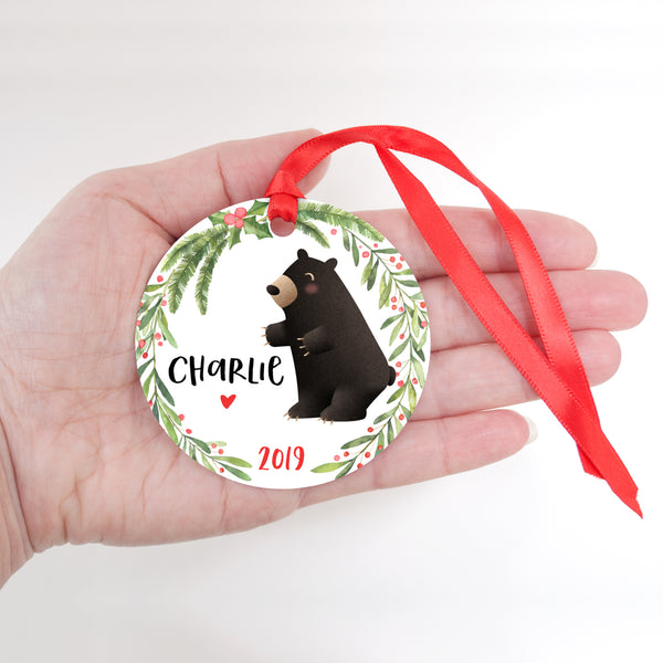 Black Bear Woodland Animal Personalized Kids Name Christmas Ornament for Boy or Girl - Round Aluminum - In hand