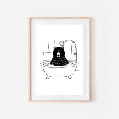 Black Bear - Woodland Animal in Bathtub Wall Art - Funny Bathroom Decor - Black and White Drawing - Downloadable Print