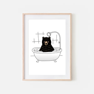 Black Bear - Animal in Bathtub Art - Funny Woodland Theme Bathroom Wall Decor for Kids - Printable Digital Download