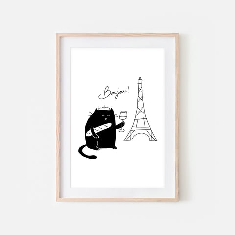 Bonjour French Black Cat in Paris Wall Art - Funny Cute Line Drawing Illustration - Print, Poster or Printable Download