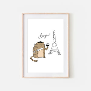 Bonjour French Brown Tabby Cat in Paris Wall Art - Funny Cute Line Drawing Illustration - Print, Poster or Printable Download