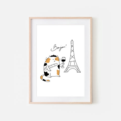 Bonjour French Calico Cat in Paris Wall Art - Funny Cute Line Drawing Illustration - Print, Poster or Printable Download