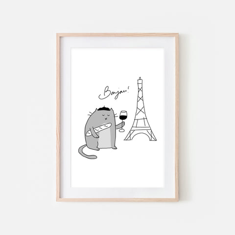 Bonjour French Gray Cat in Paris Wall Art - Funny Cute Line Drawing Illustration - Print, Poster or Printable Download
