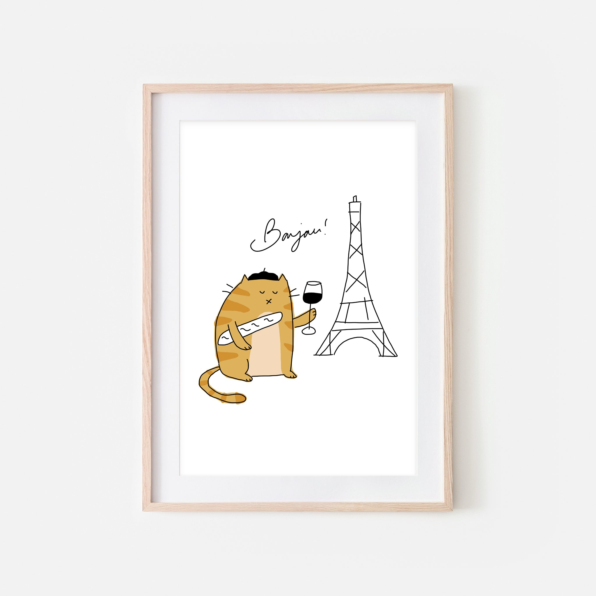 Bonjour French Orange Tabby Cat in Paris Wall Art - Funny Cute Line Drawing Illustration - Print, Poster or Printable Download