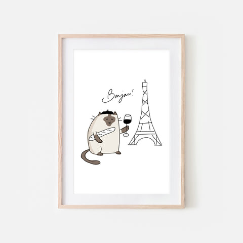 Bonjour French Siamese Cat in Paris Wall Art - Funny Kitchen Decor - Line Drawing Illustration - Print, Poster or Printable Download