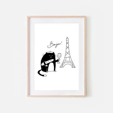 Bonjour French Black and White Tuxedo  Cat in Paris Wall Art - Funny Cute Line Drawing Illustration - Print, Poster or Printable Download